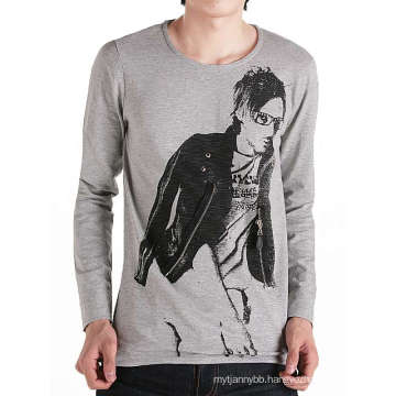 Fashion Design Printing with Zip on Front Cotton Custom Men T Shirt