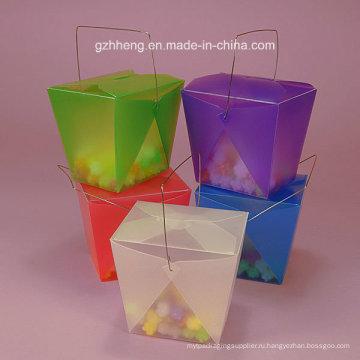 Подарочная коробка из высококачественного пластика с ручкой (коробка с ручкой из ПВХ)