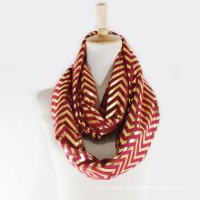 Женская Весна Лето Золотая фольга волна печать шарф Снуд (SW144)