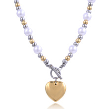 Fashion New Design Gold Kette Mädchen Stahlkugel Herz Perlenkette Modeschmuck