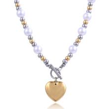 Mode New Design Or Chaîne Fille Acier Boule Coeur Perle Collier Costume Bijoux