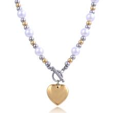 Moda de Nova Design de Ouro Cadeia Menina de Aço Bola Coração Pérola Colar Bijuteria