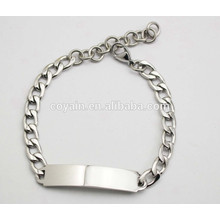 Láser y grabar disponibles en acero de plata cadena brazalete brazalete pulsera ID