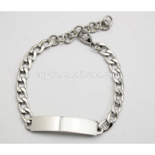 Laser and engrave available steel silver chain bangle bracelet ID bracelet