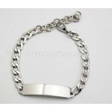Laser e gravar disponível em aço cadeia de prata bracelete bracelete pulseira de identificação