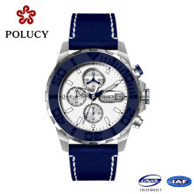 Stainless Steel Watches Men with Genuine Leather Strap