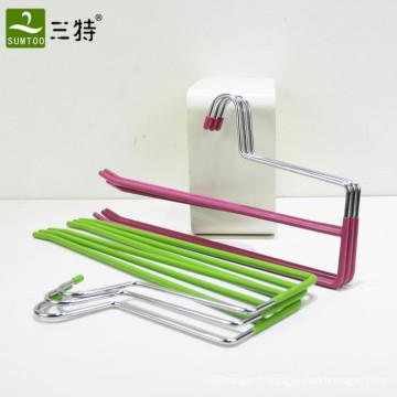 Cintre pour pantalon en métal à double couche revêtu de PVC