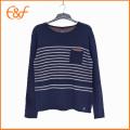 Men Navy Cotton Stripe Lead Knitwear Sweater With Pocket