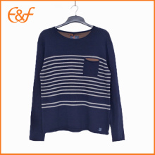 Men Navy Cotton Stripe Lead Knitwear Sweater With Pocket