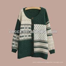Camisola do cardigan do jacquard das mulheres de 12STC0651 cores sortidas