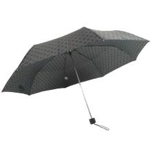 3 klappbarer Werbe-Metallständer wasserdichter Polyester-schwarzer Regenschirm