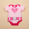2017 pink and blue color cotton short sleeve superman baby romper for boys and girls