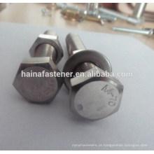 Parafuso de aço inoxidável A4-70 Hex com porca e arruela