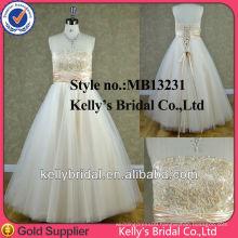 2014 most popular strapless A-line tulle skirt golden wedding dress