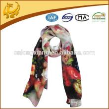 Padrão clássico flor design Long 12mm lenço de seda estilo cetim impressão de fotos