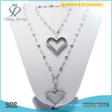 Alta qualidade Moda mulheres 35 milímetros de cristal de prata de vidro 316L em aço inoxidável flutuante coração pulseira bracelete e conjunto de jóias colar