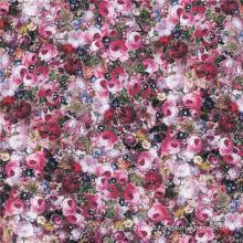 Elegante senhora vestido impressão digital tecido de seda chiffon (xf-0060)