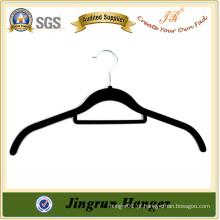 Gancho de veludo de plástico preto de alta qualidade para camisa