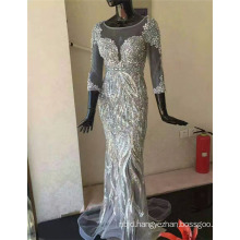 China Guangzhou Custom Made Long Sleeves Crystal Beads Silver Arabian Evening Dresses 2017