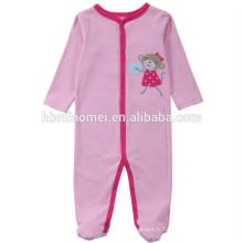 2017 mode hiver couleur rose à manches longues à capuchon bébé vêtements barboteuse avec prix de gros