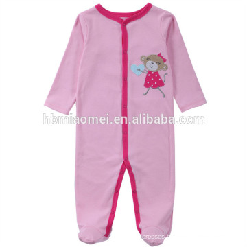 2017 fashion winter pink color long sleeve hooded baby clothes romper girl with wholesale price