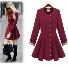 New Design Women Thin Jacket Skirt Wine Red Long Trench Coat