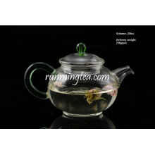 250ml Egg Shape Borosilicate Glass Tea Pot/teapot with Jade Handle, Stainless Steel Insert Spout