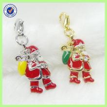 Wholesale Alloy Enamel Santa Claus Charm/Christmas Charm