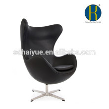 Luxury top grain leather swivel egg chair classical style replica leisure chair