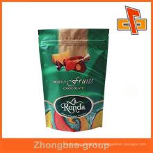 Levante-se sacos fechamento plástico fecho zip para embalagem de chocolate com entalhe de rasgo