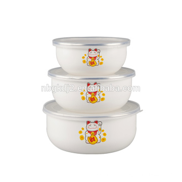 China style 3 pcs enamel ice bowl with plastic cover lucky cat