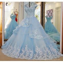 RP33870 contas de vidro desossadas reais laço designer vestidos de noiva sexy baixa volta plissada em camadas organza vestido de casamento de tule
