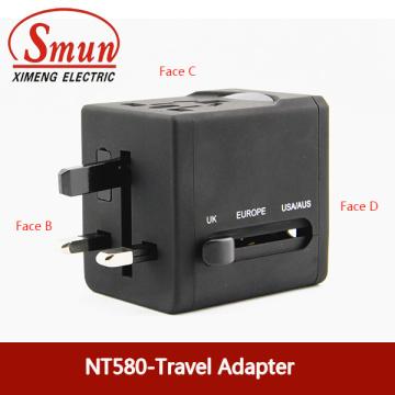 Universal Travel Plug Adapter com USB0.5A 2.1A CE RoHS Garantia de 1 ano