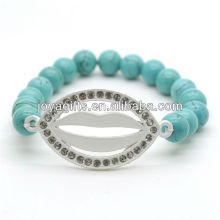 Turquoise 8MM Round Beads Stretch Gemstone Bracelet with Diamante Lip in the middle