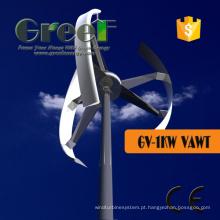 Turbina de vento de eixo Vertical de 1kw de alta eficiência para casa