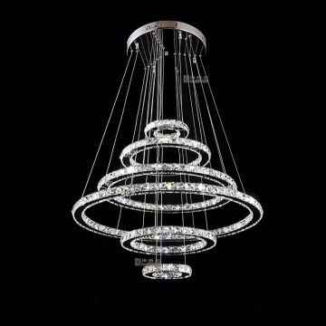 modern 6 rings chandelier crystal hanging lamp