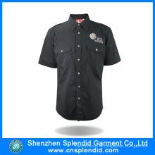 Custom Man Shirt Factory Schwarz Kurzarm Shirt für die Arbeit