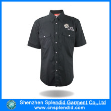 Custom Man Shirt Factory Black Short Sleeve Shirt for Work
