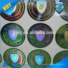 Adhésif solide Forme personnalisée permanente et impression hologramme / hologramme de code à deux dimensions