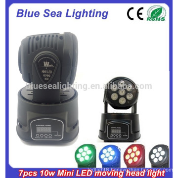 7pcs x 10W RGBW 4in1 led mini moving head manual