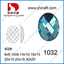 Top Qualität lose Dz-1032 Oval Glas Stein für Taschen