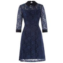 Kate Kasin 3/4 punto de la manga punto abierto cuello 2pcs conjunto floral azul marino encaje una línea de vestir KK000484-1