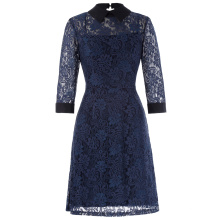 Kate Kasin 3/4 Sleeve Point Collar Open Back 2pcs Set Floral Navy Blue Lace A-Line Dress KK000484-1