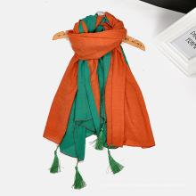 Venda quente cachecol mulheres hijab personalidade dupla cor lenços de emenda de algodão borla cachecol