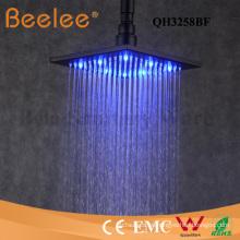 Cabezal de ducha autoajustable del LED Cabezal de ducha superior mate del negro de la ducha del cuarto de baño del cuadrado