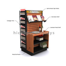 Wine Shop Double Sided Slatwall Laminate Wooden Handmade Retail Wine Display Rack With Signage