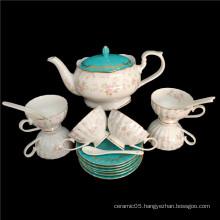 Chinese high quality new bone china green coffee set tea set