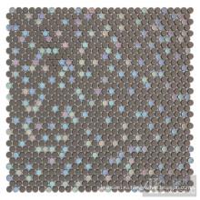 Mosaico de vidrio esmaltado iridesent de mezcla gris