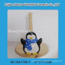 Titular de tecido de cerâmica de alta qualidade com forma de pinguim