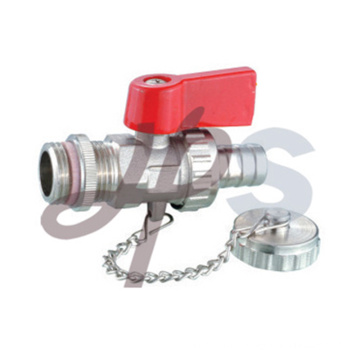brass drain-off ball valve with union cap chain